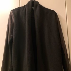Vince wool/cashmere cardigan with leather sleeves
